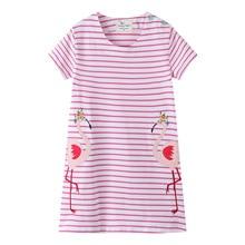 Baby Girl Dresses Clothes Striped 2019 Summer Cotton Crane Print Pattern Dress Girl Princess Vestidos Children Clothing 2 Years