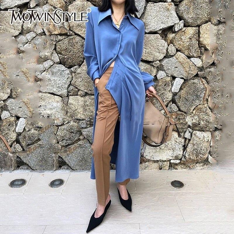 TWOTWINSTYLE Asymmetrical Shirt Dress Women Lapel Collar Long Sleeve High Split Female Dresses Spring Korean 2019