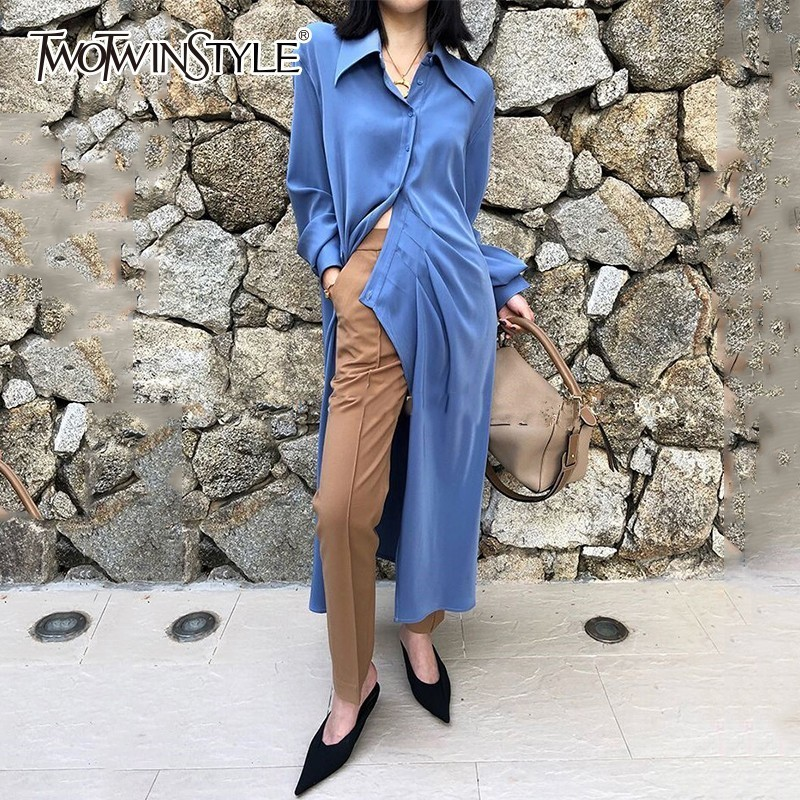 Deuxtwinstyle asymétrique chemise robe femmes revers col à manches longues haute Split femmes robes printemps coréen 2019 vêtements nouveau-in Robes from Mode Femme et Accessoires on AliExpress - 11.11_Double 11_Singles' Day 1