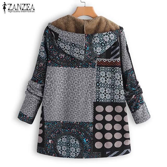 ZANZEA Vintage Women Winter Fur Fleece Long Sleeve Coat Female Hooded Outwear Print Jackets Casual Zipper Cardigans Plus Size 2
