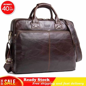 high quality Genuine Leather Man Handbag 15.6 Inch Luxury brand Portable Computer Business Affairs Briefcase best Free shipping