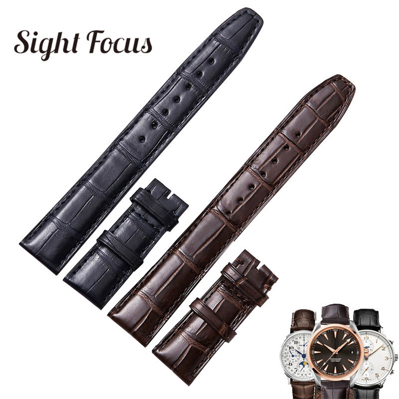 20mm 22mm Genuine Alligator Leather Watch Band for IWC Watch Straps Black Brown Crocodile Bracelets Mens Belts Correas Masculino chimaera black brown deep brown handmade crocodile alligator grain 20mm 21mm 22mm genuine calf leather watch band strap for iwc