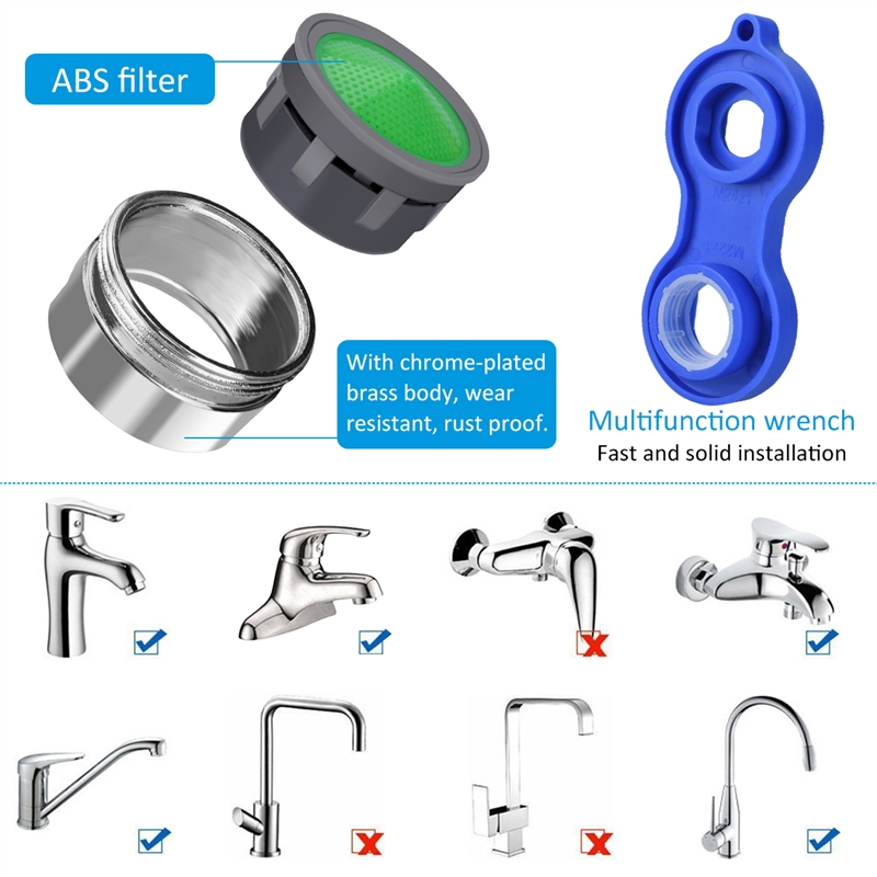 Hot 12 Pc Water Saving Aerator Copper aireador grifo 1Pc Faucet Aerator Wrench Jet Regulators Filter Spare Part for Kitchen Bath in Aerators from Home Improvement