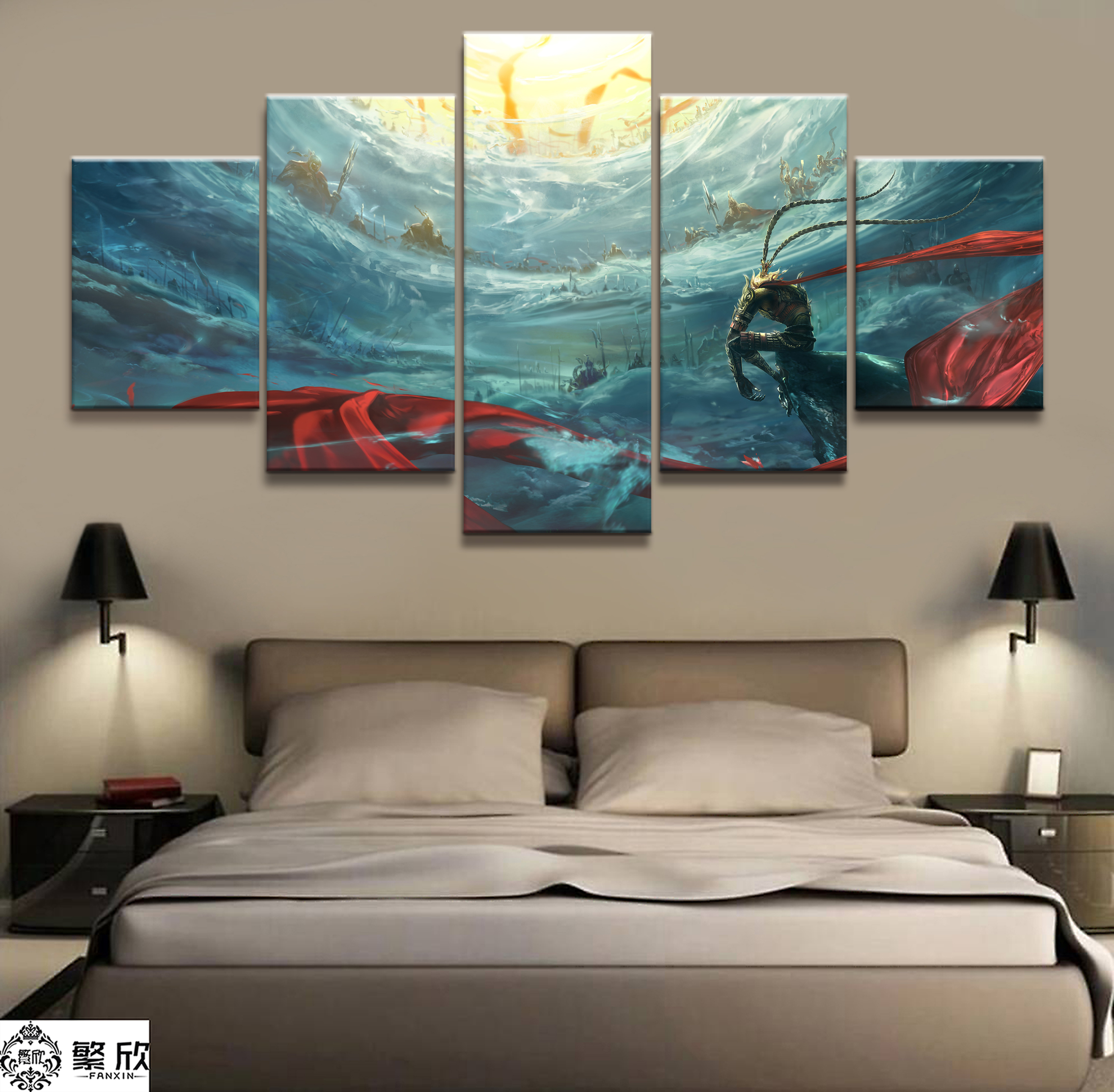 5 Piece Animation Movie Havoc in Heaven Sun WuKong Poster Paintings on Canvas Fort Cartoon Pictures Decor Canvas Wholesale(China)