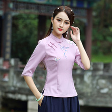 SHENG COCO Cheongsam Blusa New Cotton Linen Restore Ancient China Embroidery Lace Chinese Traditional Women Tops Ropa Oriental