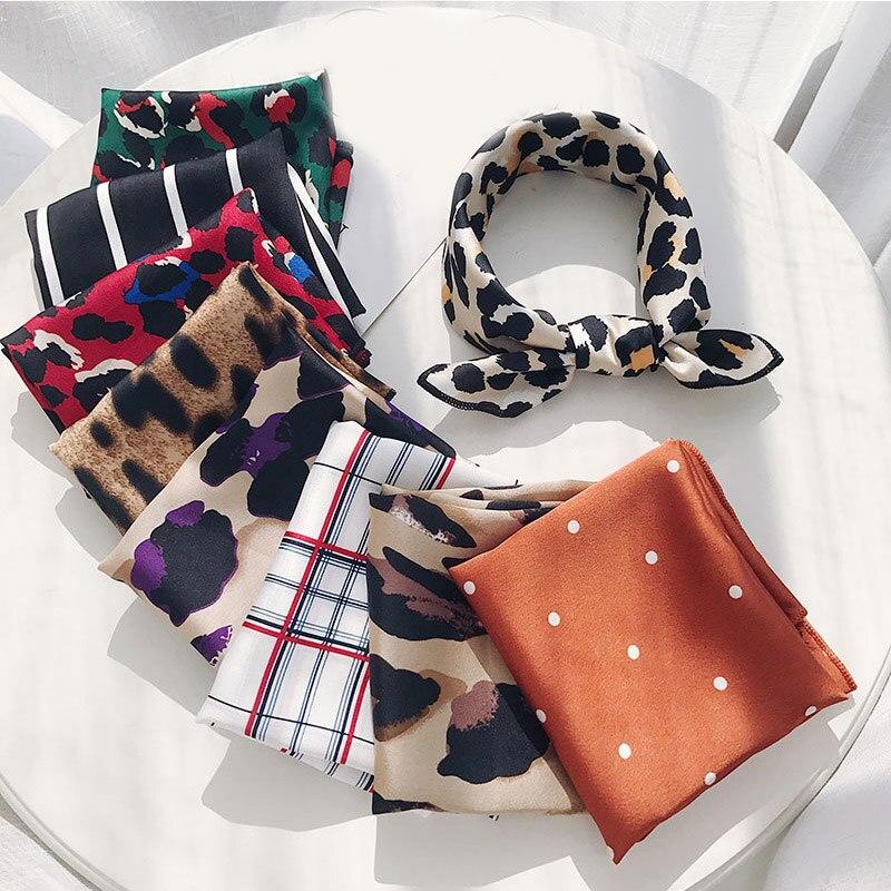 faire les courses pour dans quelques jours nouvelle qualité € 1.37 15% de réduction|Bandeau carré foulard sentir soie tête cou petite  cravate Vintage femmes Satin élégant léopard-in Foulards from Accessoires  de ...
