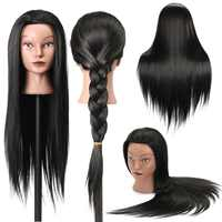 27 Inches 30% Real Hair Training Mannequin Head Black Hair Hairdressing Dummy Doll Human Heads Model For Salon Practice New