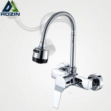 Ücretsiz kargo akış sprey Bubbler banyo mutfak musluk duvara monte çift delik sıcak ve soğuk su esnek boru mutfak mikseri