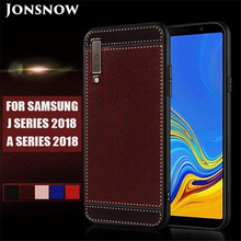 купить JONSNOW Frosted Case for Samsung Galaxy J6 J8 A6 A8 Plus 2018 Litchi Texture Soft Phone Cover for Galaxy A7 2018 A750 A7 A8 A9 дешево