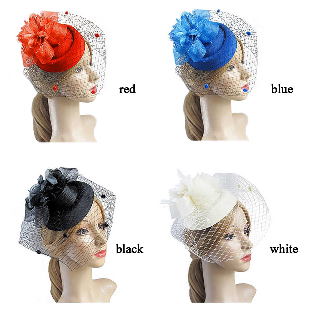 魅力的な髪クリップ帽子ボウラー羽ネット帽子花のベールのウェディングパーティー帽子 (赤)