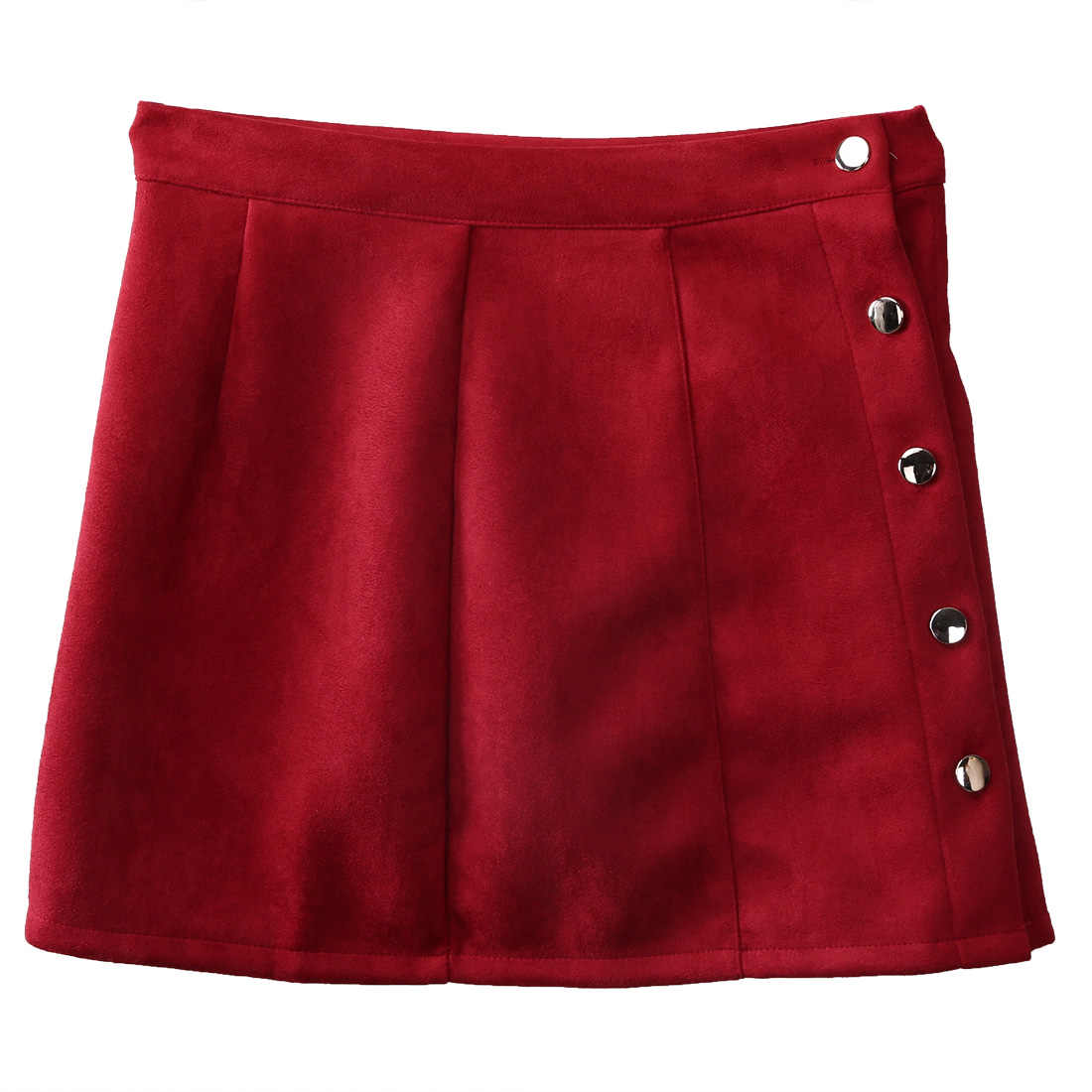 Nuove Donne di Modo A Vita Alta In Pelle Scamosciata In Pelle Gonne Preppy Breve Mini Gonna Donne Alla Moda di Inghilterra Stile di Una Linea di Mini Gonne
