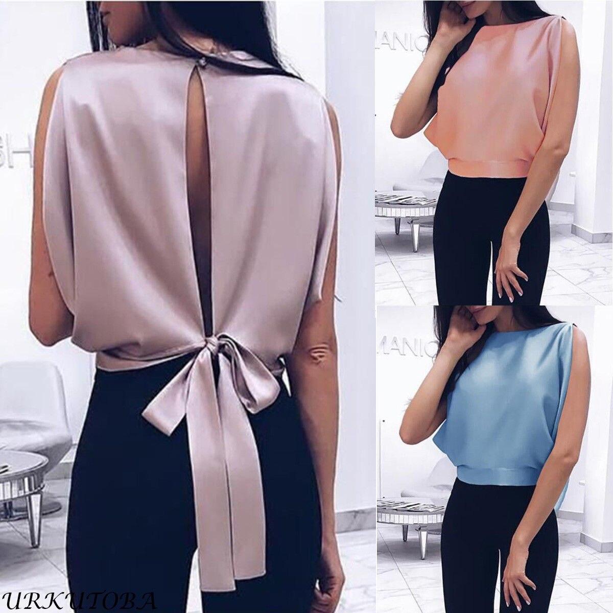 Fashion Women's Summer Chiffon Vest Behind Bow Tie Top Sleeveless Casual Top T-Shirt