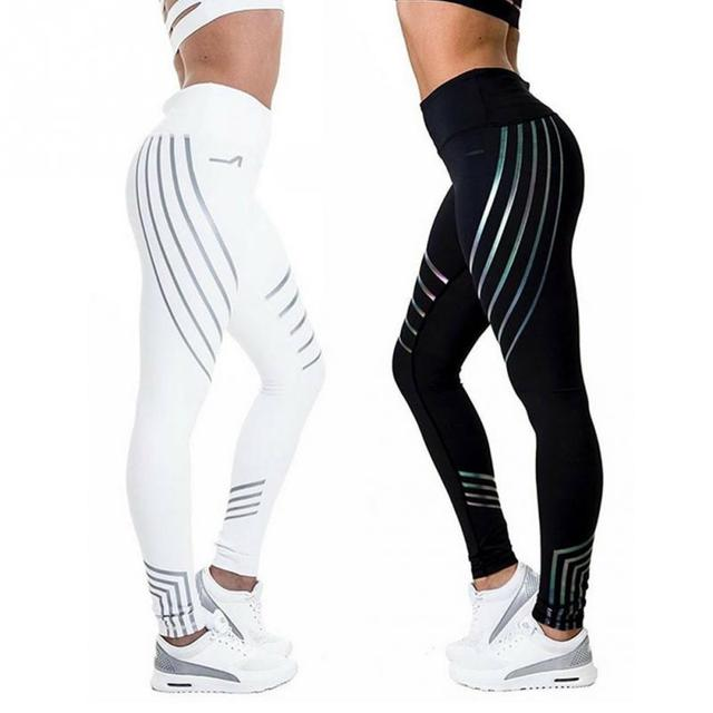 a80e68bbc1 Reflective Striped Yoga Pants Leggings High Waist Elastic Women Fitness Yoga  Pants Tights Sportswear Tracksuit