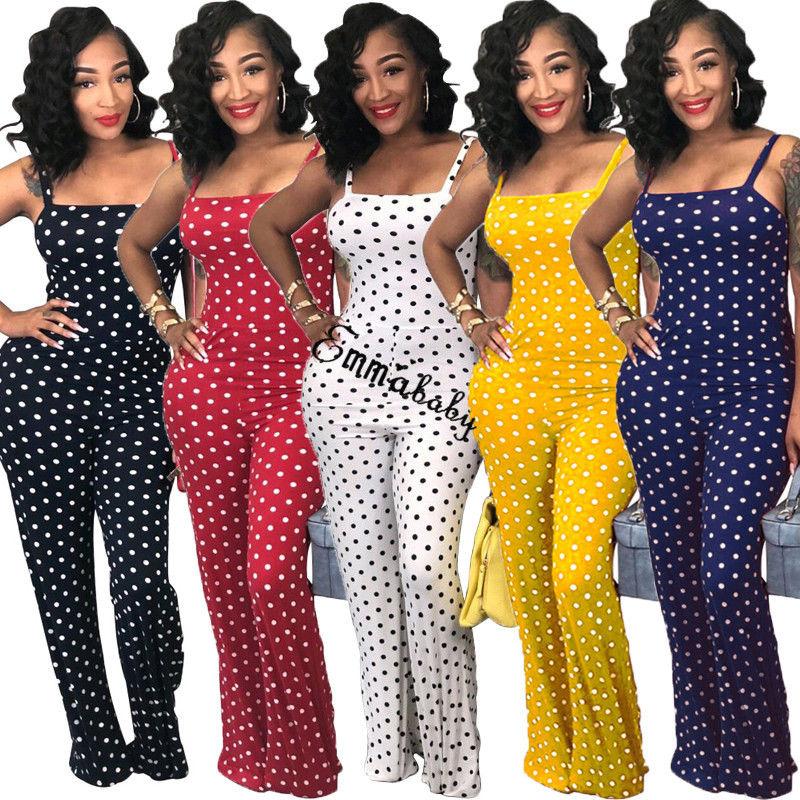 Women Ladies Clubwear Summer Dots Playsuit   Jumpsuit   Romper Long Pants Party Trousers