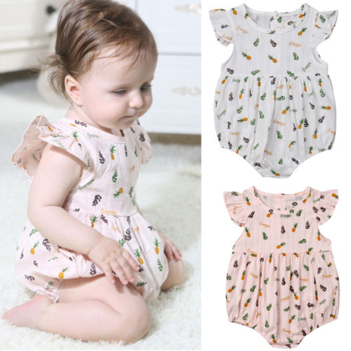 2019 New Little Baby Girls Pineapple Bodysuitr Sleeveless Summer Playsuit Jumpsuit Sunsuit Clothes Outfit Newborn Baby Clothes