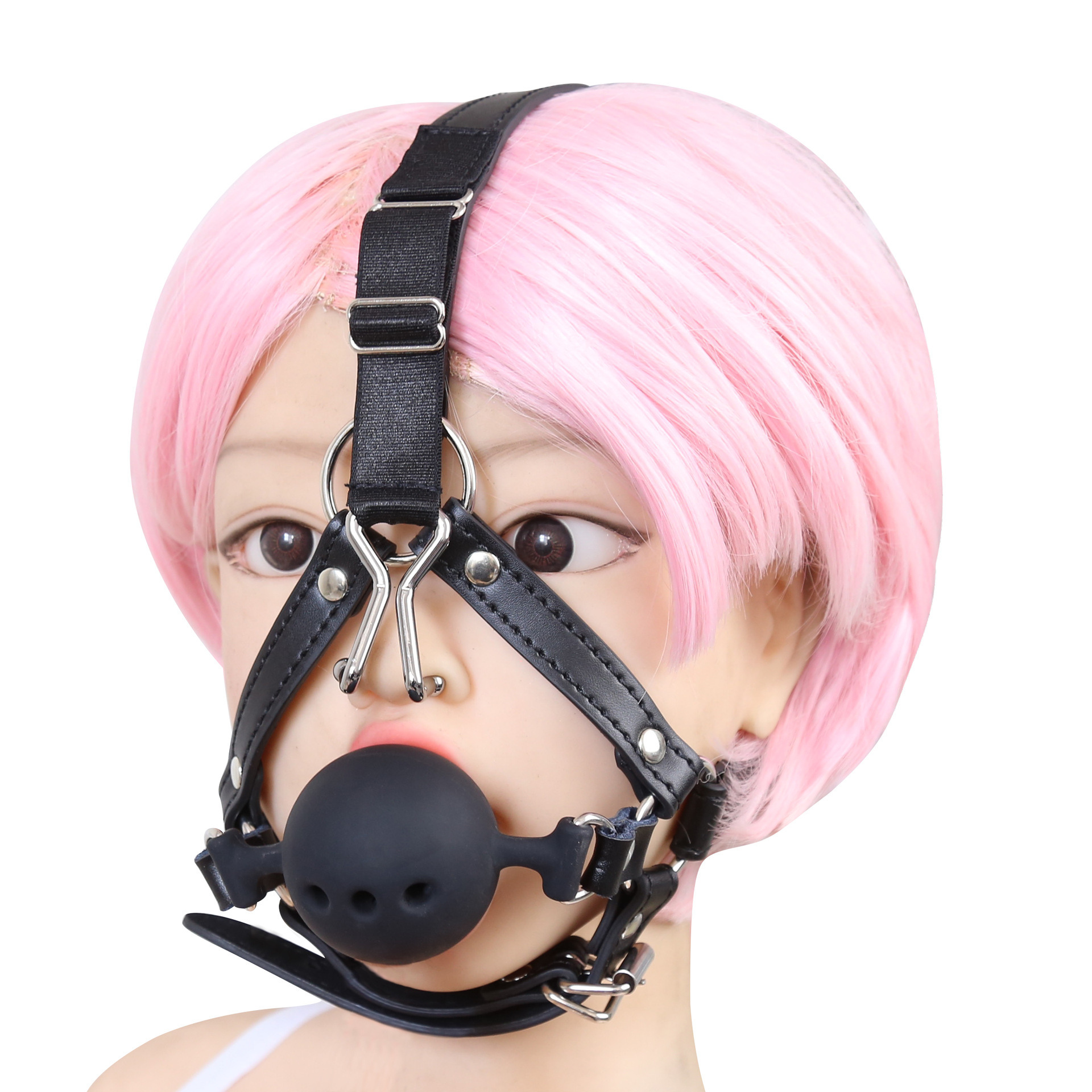 Sexy Hood Silicone Breathable Open Mouth Plug Ball Gag Head Harness Restraint With Nose Hook Adult Couple Flirt Bondage Gags