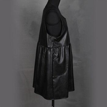 Nerazzurri overalls dress for women 2019 black pleated pu leather suspender dress plus size dresses for women 4xl 5xl 6xl 7xl 2