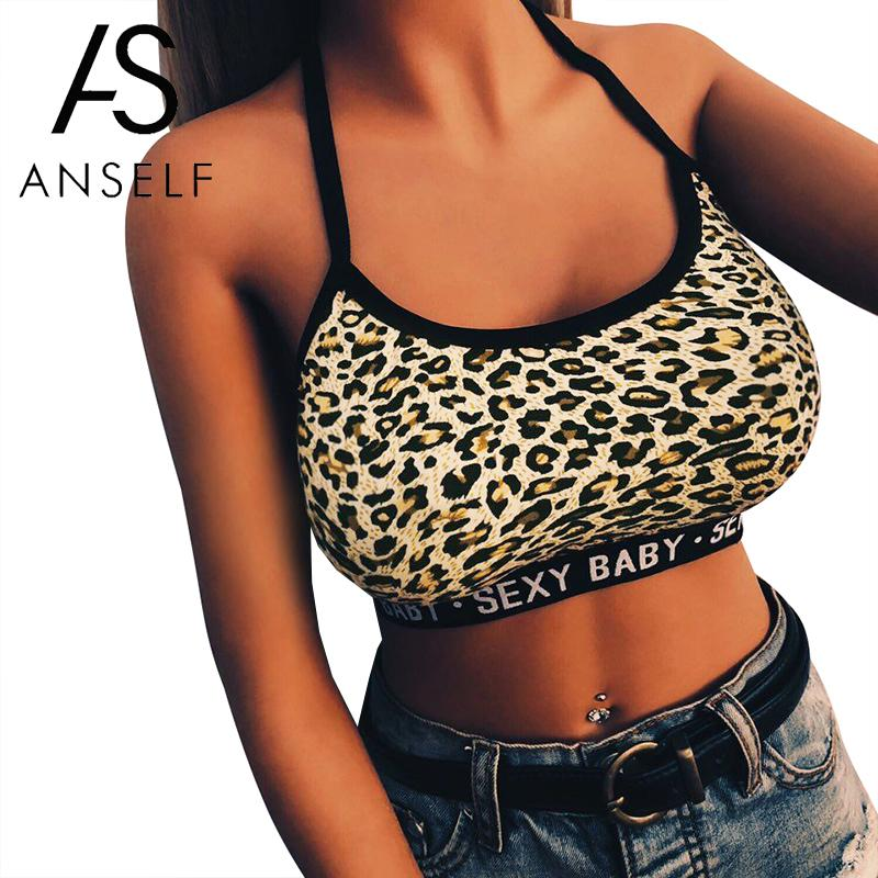 Sexy   Tank     Top   Women Bandage crop   Top   Letter Leopard Halter Neck Camis Sleeveless Backless Cropped Streetwear female Camisole