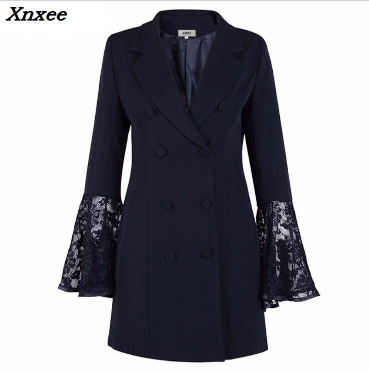 Women's Blazer Elegant Suit Women Jacket Coat Black Lace Female Blazer Feminino Double Breasted Medium-Long Women's Suit Blazer