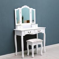 Tri Folding Mirror 4 Drawers Furniture Dressing Table Makeup Desk + Stool Home Furniture for Bedroom