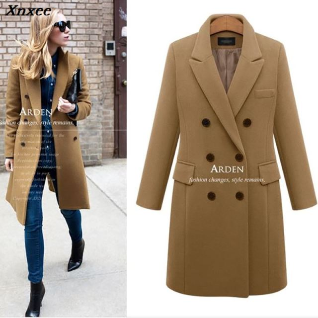 Autumn Winter Suit Blazer Women 2018 Formal Wool Blends Jacket Coat Work Office Lady Long Sleeve suits &blazer Plus Size 4XL 5XL
