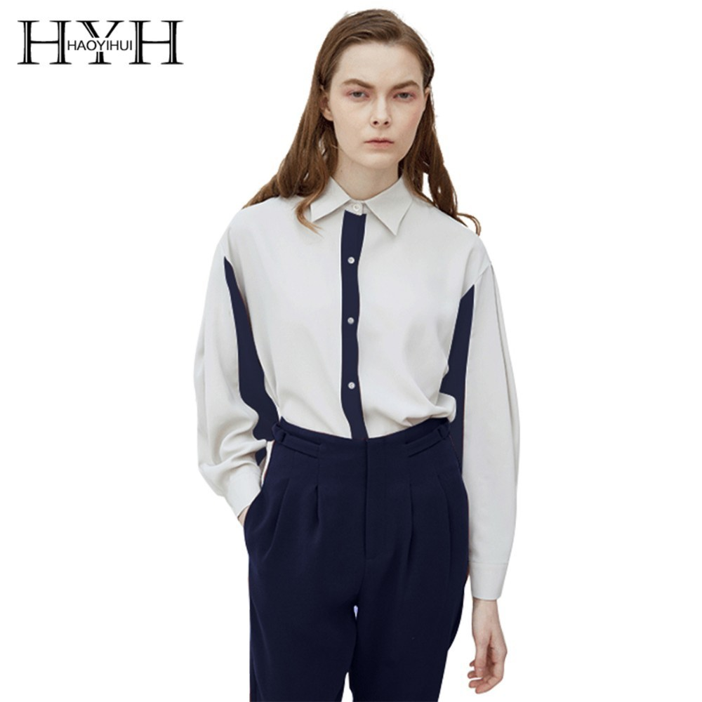 HYH HAOYIHUI 2019 New Girl Fashion Simple Blouse Contrast Stitching Cuffs Pleated Loose Shirt