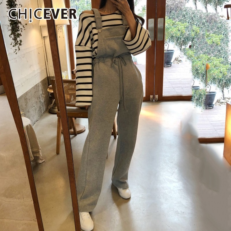 CHICEVER Spring Women Rompers Pant Loose Slim Lace Up Sashes High Waist Female Overalls Wide Leg Pant 2019 Fashion New Tide
