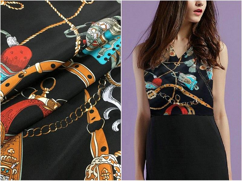Brand silk 19mm 97 mulberry silk 3 spandex chain print stretch black silk satin fabric for