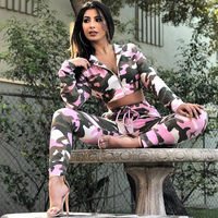 Sexy TWO PIECE SET Camouflage Crop Top Hoodies Jacket Military Cargo Pants Sweat Suits Women Clothes Outfits Tracksuit Outdoor