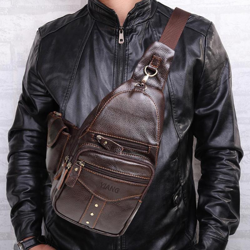 Male Genuine Leather Shoulder Messenger Waist Packs Men Solid Color Zipper Fanny Bags Casual Crossbody Travel Satchel Chest Bags