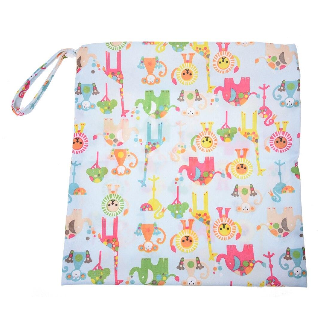 Diapers Bag Washable Sealed Zips (Multi Animal Pattern Light Blue)