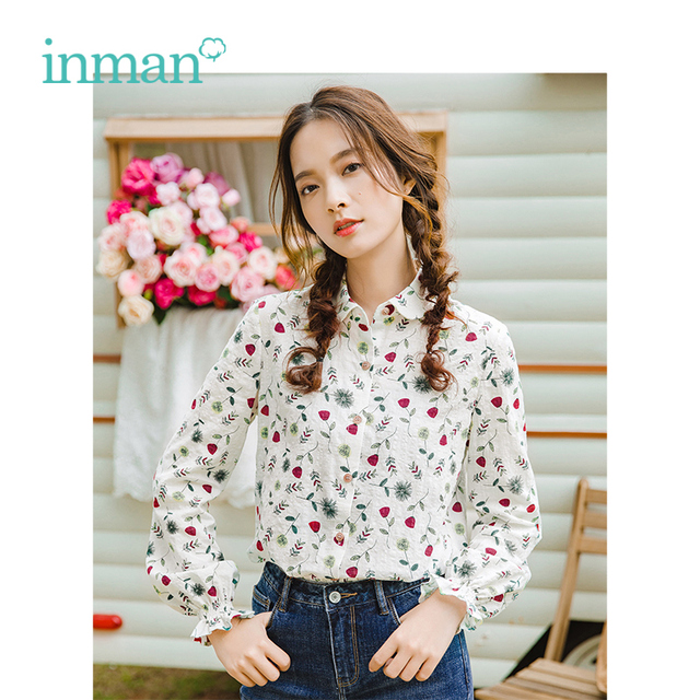 INMAN 2019 Spring New Arrival Turn Down Collar Literary Retro Floral Pastoral Holiday Style Casual All Matched Women Shirt