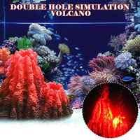 Simulation Volcano Double Hole Flame Mountain Aquarium Landscaping Decoration Dropshipping