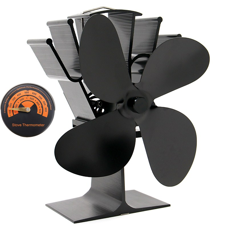 4 blades heat powered stove fan with thermometer log wood for Stufe jotul usate