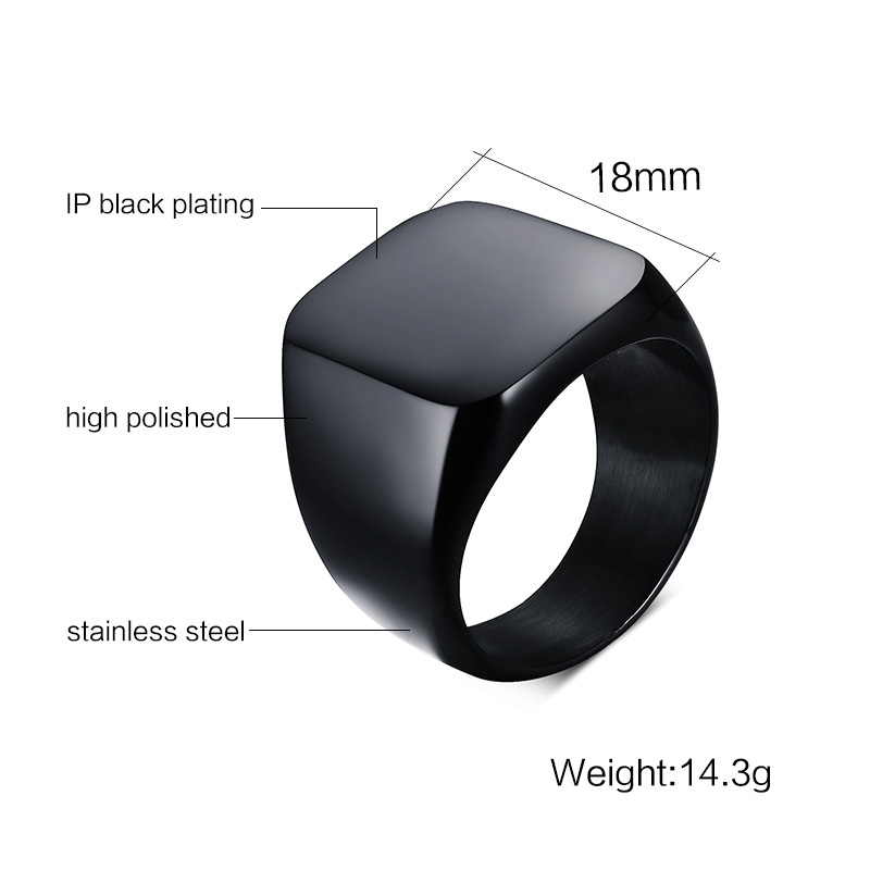 Square in Square Face Light Black IP Stainless Steel Mens Fashion Cool Ring