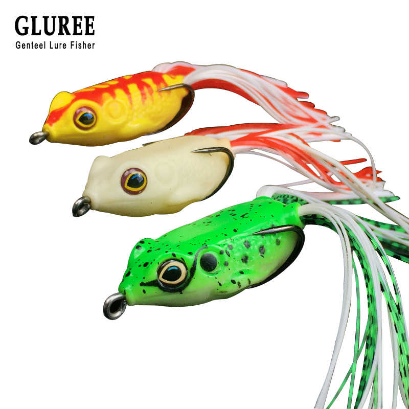 GLUREE 1Pcs 5.5g 4cm Frog Fishing Lures Topwater Ray Frog Artificial Bait Crank Soft Bait Fishing Tackle Two Hooks 3 Color