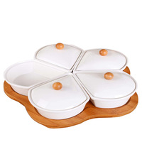 Kitchen Articles Five Paper Set Plum Blossom Porcelain Cover Assorted Cold Dishes Originality Do Compote A Snack Dish Bamboo