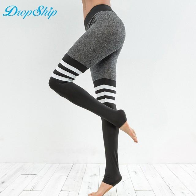 Dropship New Autumn Workout Black High Waist Elastic Running Fitness Slim Sport Patchwork Pants Leggings For Womens Trousers