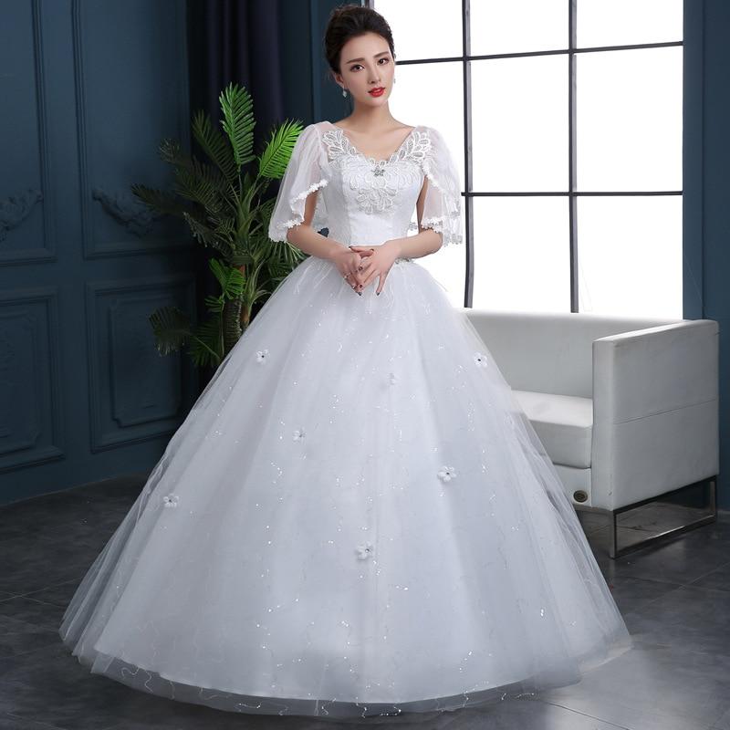 Popodion Wedding Dress 2019 Wedding Gowns Lace Plus Size Wedding Dresses  Vestido De Noiva N1042