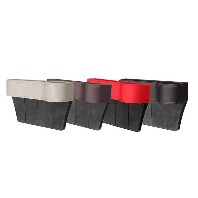 Left/Right Universal Pair Passenger Driver Side Car Seat Gap Storage Box for Pocket Organizer Phone Holders Black/Beige/Red 4