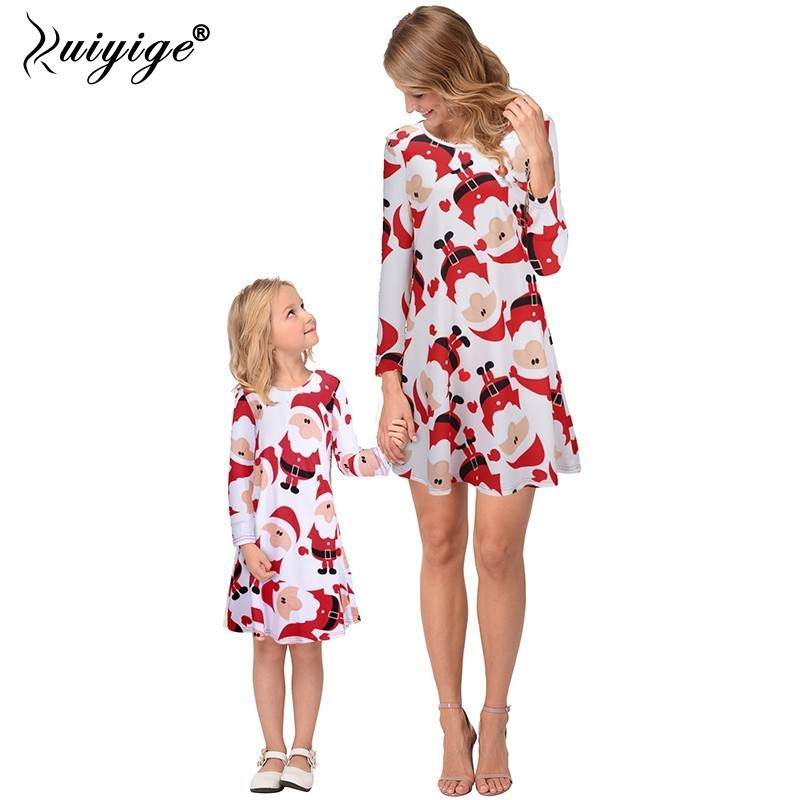 New Fashion Mother & Daughter Dress 2018 New Fashion Xmas Women O-neck Long Sleeve Swing Skater A Line Print Casual Flare Skirt Dress Kid Excellent In Quality