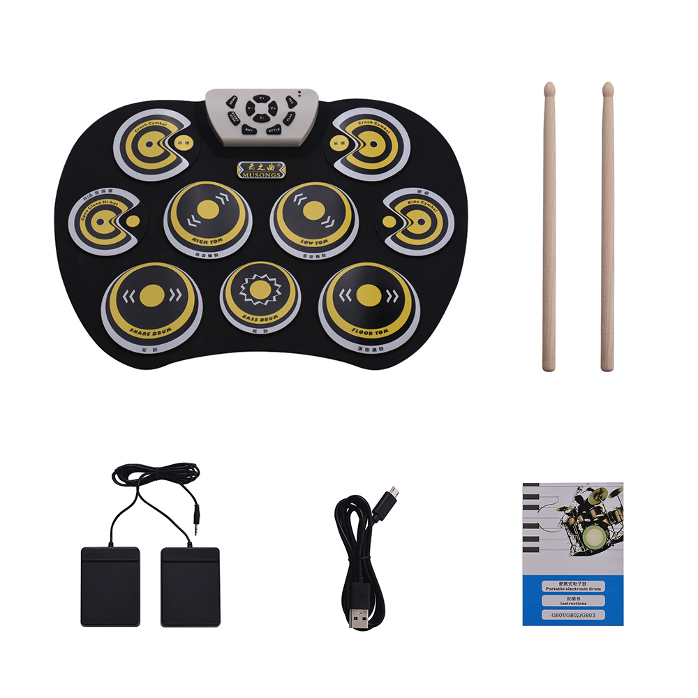 Electronic Drum Pad USB Cable Foldable Roll Up Digital Drum Set with Drumstick Double Foot Pedals Percussion Instrument Drumpad-in Drum from Sports & Entertainment    1