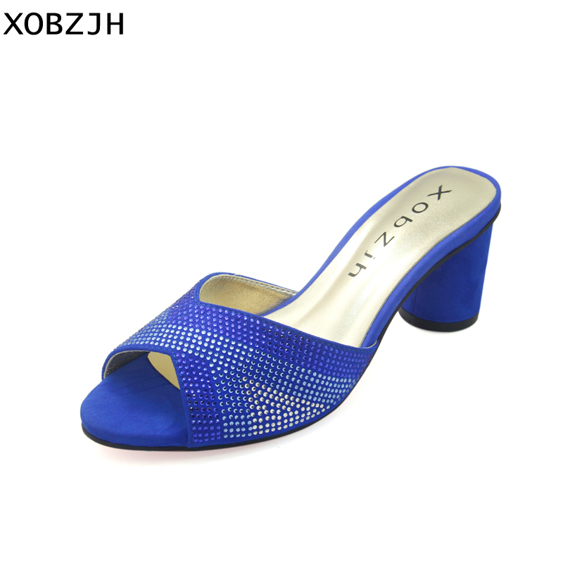 Dames Pouce Bleu 2 Sandales D'été Sexy Peep Femmes Toe Parti Xobzjh 2018 on 5 Bloc Strass Slip Chaussures Talon XfR1xBqUwn