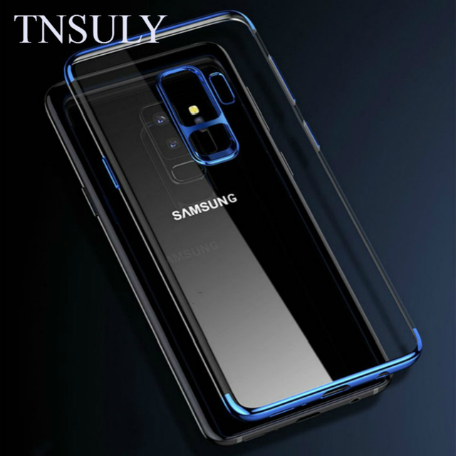 finest selection 7de59 94132 US $3.51 12% OFF|TNSULY Case For Samsung Galaxy S6 Edge S7 S8 S9 Plus Note  8 9 Electroplate Protect Sheath Transparent Tpu Defence Soft Shell-in ...