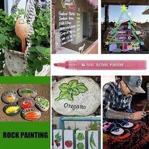 Image 5 - 12 24 צבעים/סט STA אקריליק צבע קבוע מרקר עט עבור קרמיקה רוק זכוכית פורצלן ספל עץ בד בד ציור