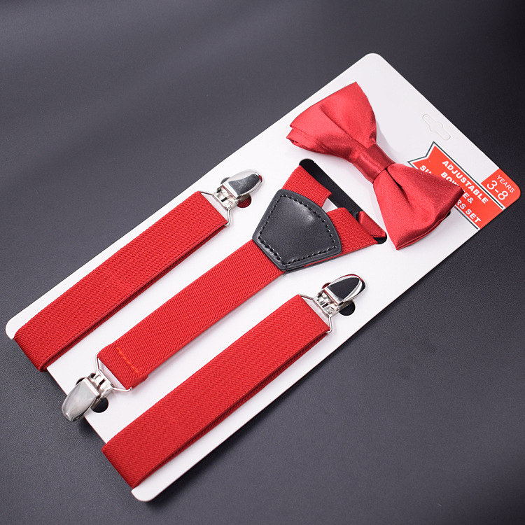 2019 New Brand Children 3 Clips Strap Boys And Girls Bow Tie Set Children's Three Clip Fan Set High Quality Hanging Pants