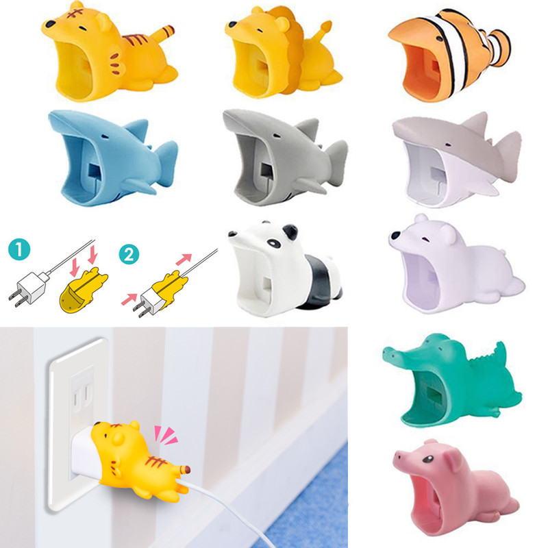 Cartoon Cute Animal Charger Protector For IPhone US Plug Big Cable Bite Protection Cover Cute Charger Protective Cable Winder