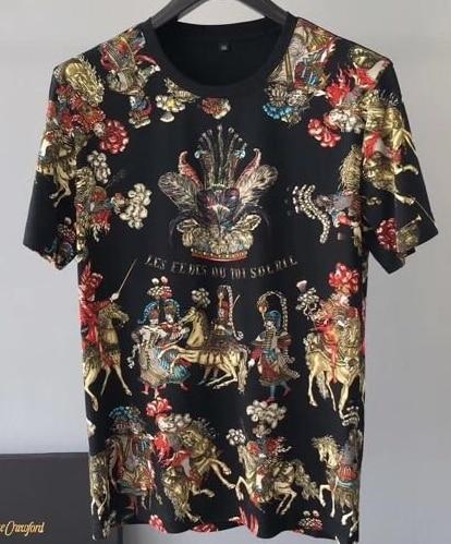 2019 Primavera 19ss di Nuovo Modo Magliette Fiore Floreale Cavaliere Corona di Stampa Tee T Shirt Per Gli Uomini di Cotone Famoso Marchio di Abbigliamento top Retro