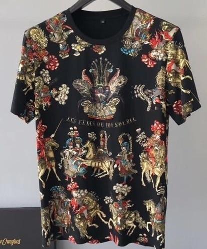 Primavera de 2019 19ss nueva moda camisetas flor Floral Caballero corona impresión Tee T camisa para los hombres algodón marca famosa ropa top Retro