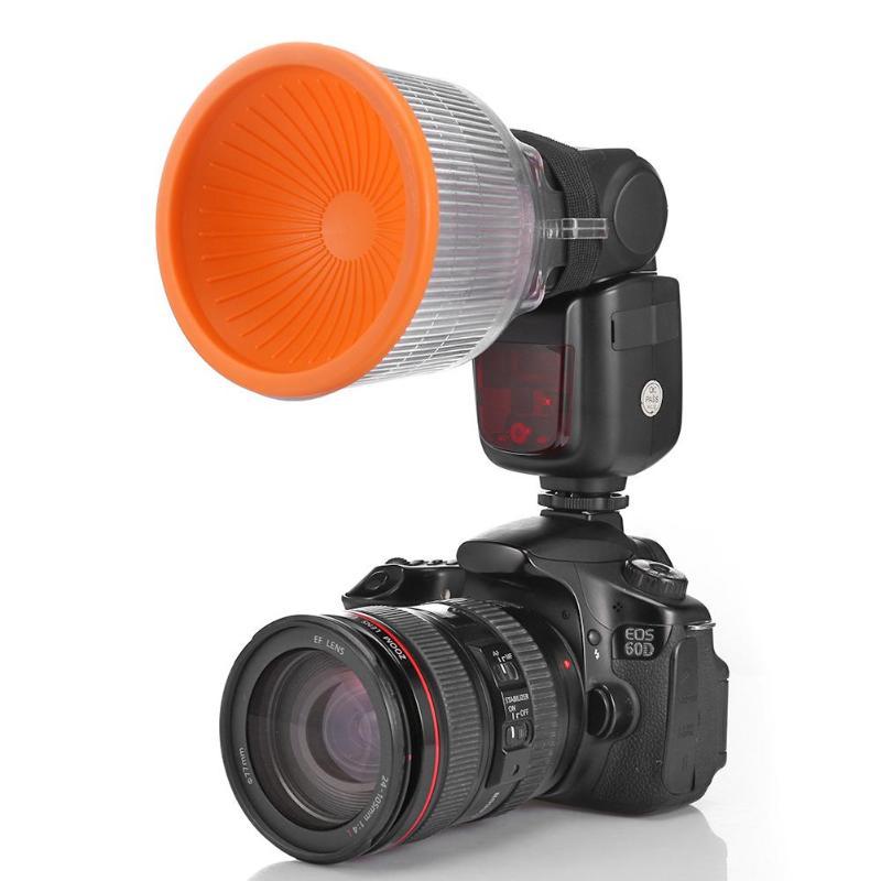 ALLOET Universal Lambency Flash Diffuser Adjustable White Orange Cover Set For Canon Nikon Sony DSLR SLR Camera Flash Speedlite
